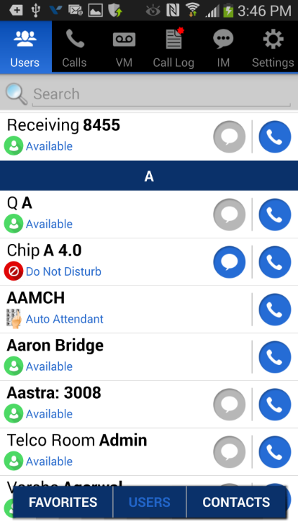 Wave ViewPoint Mobile 2.0 User Guide 16 Users - Contacts Contacts are directly referenced from your mobile device s address book.