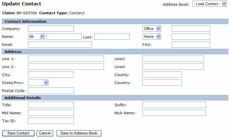 Add Contacts Double click on the Contact Type you want to enter. The Update Contact screen will appear.