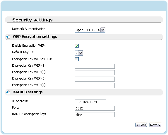 When the Open-IEEE8021X value is selected, the WEP Encryption settings and RADIUS settings sections are displayed: Figure 49.