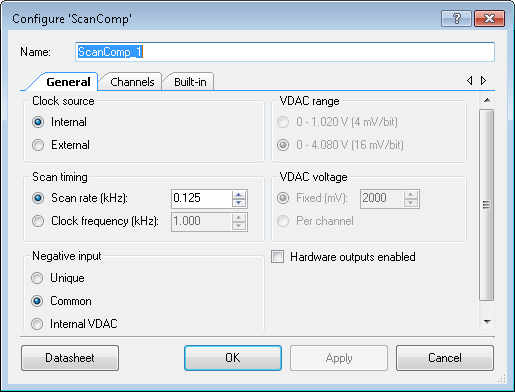 Scanning Comparator Component Parameters Drag a Scanning Comparator onto your design and double click it to open the Configure dialog. This dialog has the following tabs with different parameters.