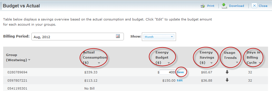 You can edit the energy budget for each account within the group by clicking the Edit