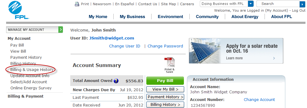2. Accessing the Energy Usage Information page Click on Billing & Usage History under