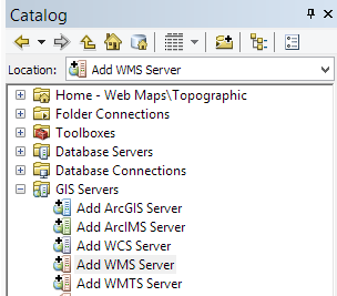 About The Open Geospatial Consortium GIS Beyond the Basics: Web Maps & File Sharing Services Connecting to a Web Map Service (WMS) or Web Coverage Service (WCS) through ArcCatalog Web Map Services