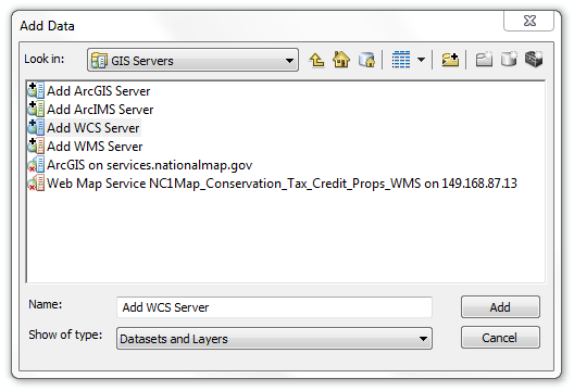 Connecting to GIS servers through the ArcMap Toolbar Connections to GIS servers can be also made through the Add Data menu button within ArcMap.