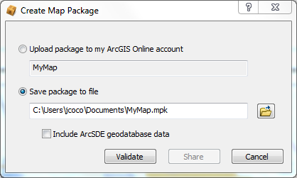 Once a user-friendly map has been prepared, you are ready to package your map and data. The steps below show how to create a Map Package using the ArcMap interface. 1.