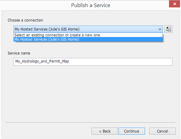 4. Next, choose a connection to the server. Your ArcGIS Online organizational subscription account will be listed as a hosted service both here, and in the Catalog window.