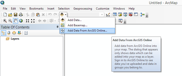 Adding maps and data from ArcGIS Online To add services to ArcMap from ArcGIS Online, click the Add Data drop-down menu to select the Add Data from ArcGIS Online command.