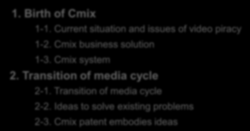 Content & Corporate Profile 1. Birth of Cmix 1-1. Current situation and issues of video piracy 1-2. Cmix business solution 1-3. Cmix system 2. Transition of media cycle 2-1.