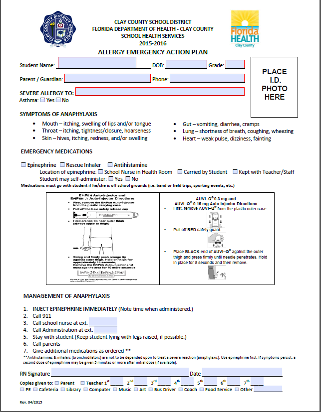allergy action plan template - clay county district schools florida department of