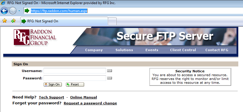 RFG Secure FTP Web Interface Step 1: Getting to the Secure FTP Web Interface: Open your preferred web browser and type the following address: http://ftp.raddon.