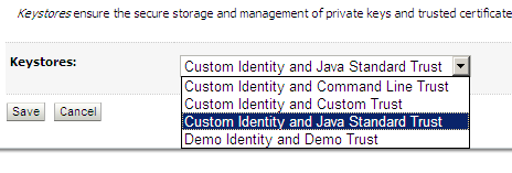 Select Custom Identity and Java Standard Trust. Click Save. Back in the keystores tab, enter the following information: Custom Identity Keystore: C:\SSL\WLSOBIEECert.