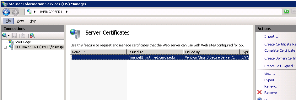 3. The server certificate with DNS (Alias) name is displayed. Webserverurl.