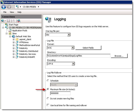 1. Open the IIS Manager. 2. On the IIS dashboard, highlight your server name to display configuration options in the Feature View. 3. Double-click the Logging icon to display the Logging page.