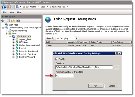 3. Double-click the Failed Request Tracing Rules icon. 4. Right-click on the current set of enabled rules. Click Edit Tracing Settings. 5. Update the value in the Maximum number of trace files box.
