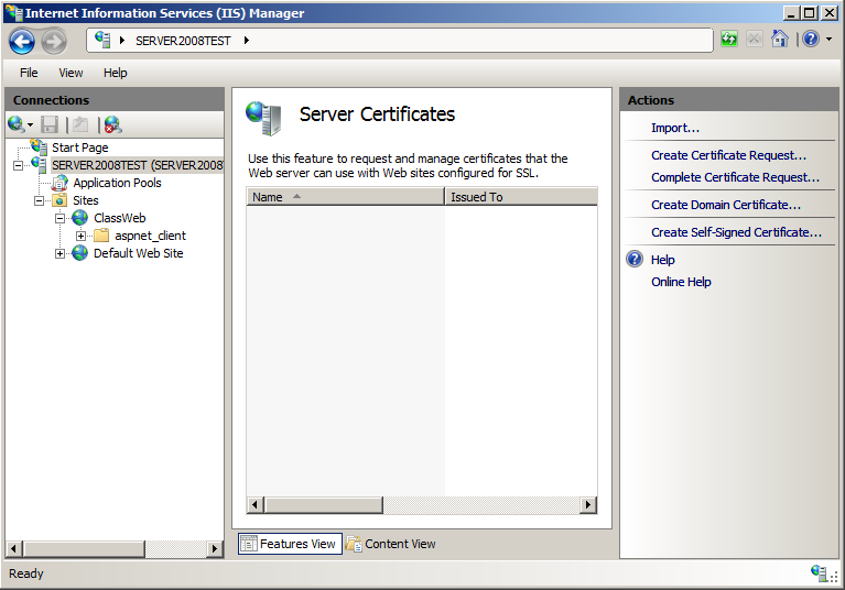 Windows Server 2008 After a certificate has been purchased from a Trusted Authority, it will need to be attached to the Web Site in IIS before it can be used. 1.