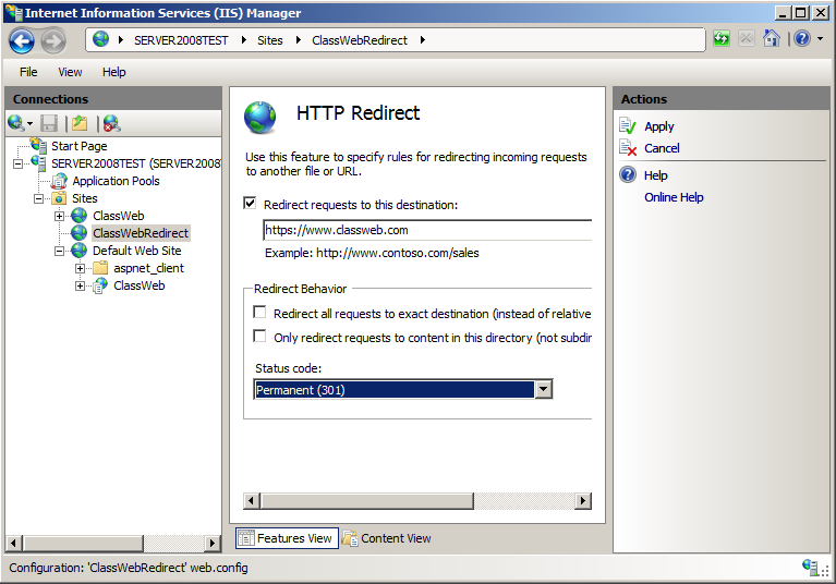28. Double-click on HTTP Redirect in the centre section of the screen, underneath the IIS Section 29.