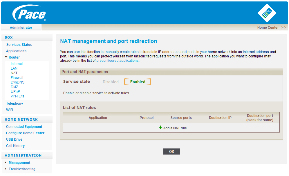 To configure a NAT rule: Indicate an application name Select the protocol type: TCP or UDP Enter the port that has to be forwarded to the internal service Indicate the address of the hardware on the