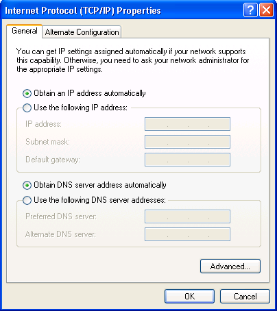 Configuring PC in Windows XP 1. Go to Start / Control Panel (in Classic View). In the Control Panel, double-click Network Connections. 2. Double-click Local Area Connection. 3.
