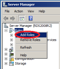 FIGURE 1: OPEN SERVER MANAGER 2. Right-click Roles, then click Add Roles (Figure 2 below).