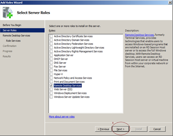 FIGURE 3: ADD ROLES WIZARD 4. Check Remote Desktop Services on the list to install and activate this role. 5. Click Next.