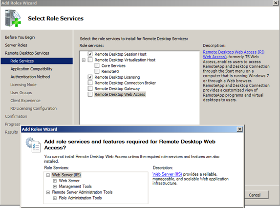 Selecting this Role Service causes the default installation of a Web Server (Figure 5 below) FIGURE 5: ADD WEB SERVER SERVICES Note: Additional Role Services can also be added at any time.