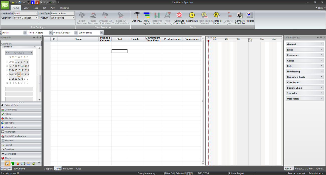 2.3.3. Gantt Display The Synchro screen should look as below- You may need to move the divider