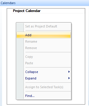 4. Calendars Calendars are used to assign working time and non-working time to an activity. Every project will have a default calendar that is used when new tasks are created or scheduled.