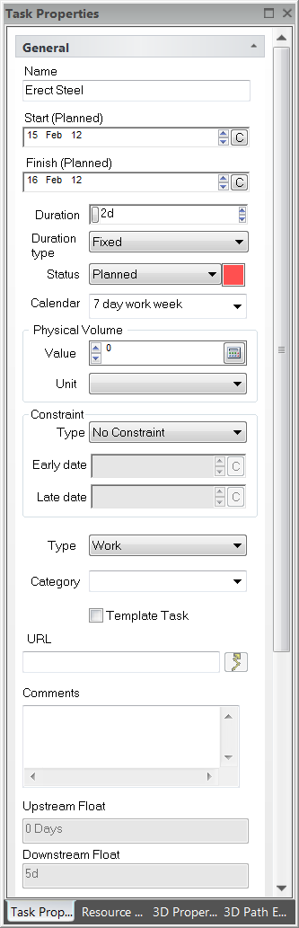 6.2.4. Task Properties General The Task Properties > General tab allows the task properties for a selected activtiy to be viewed and modified if needed.