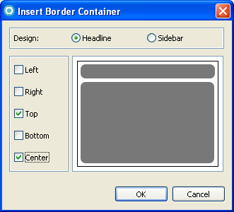 b. Click OK. 5. A visual view of the BorderContainer is now displayed in the Design pane.