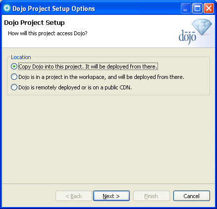 a. The Dojo Project Setup Options dialog box provides you with three options for configuring Dojo in your web application.