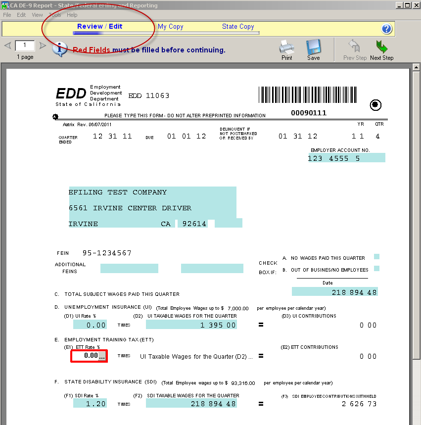 efiling and Reporting for Sage100 ERP If there are mandatory fields that are not stored within the Sage 100 ERP database, you will receive the prompt below indicating that fields displayed in RED