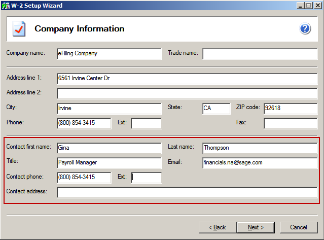 efiling and Reporting for Sage 100 ERP Company Information The company information screen displays all of the information that relates to your company