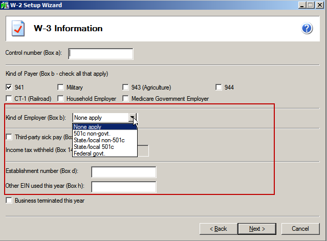 efiling and Reporting for Sage100 ERP W-3 Information The W-3 information screen only displays when you are processing W-2 forms and allows you to indicate information related to your company that