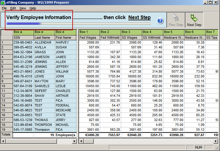 efiling and Reporting for Sage100 ERP W-2 Grid Details The W-2 employee grid displays all of your W-2 relevant employee data in an Excel like grid with columns and rows of information.