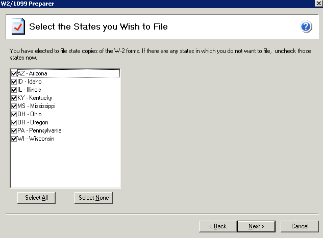 efiling and Reporting for Sage 100 ERP State Selection Screen If you selected to process your state copies in the printing and processing screen and you have more than one state in the employee grid,