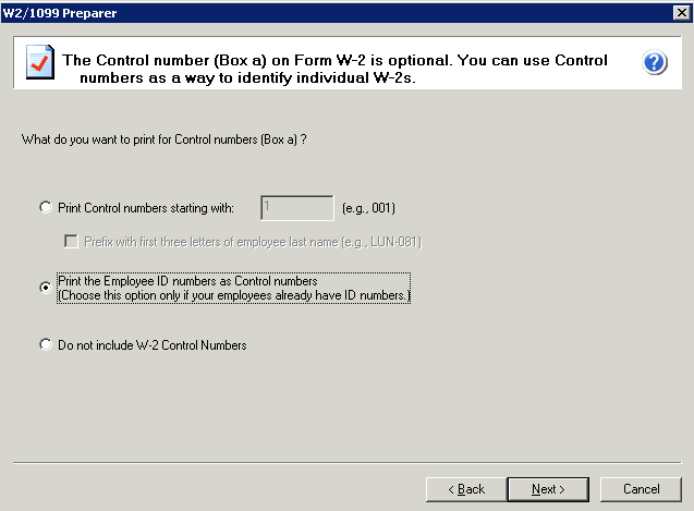 efiling and Reporting for Sage 100 ERP W-2 Control Numbers If you selected to use W-2 control numbers during the company setup wizard a dialog will appear.
