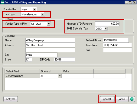 efiling and Reporting for Sage100 ERP How to print Accounts Payable 1099 efiling and Reporting From the Accounts Payable Reports menu, Form 1099 efiling and Reporting.