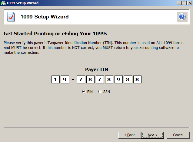 efiling and Reporting for Sage100 ERP Verify the Payer TIN The number displayed here will be used on all forms.