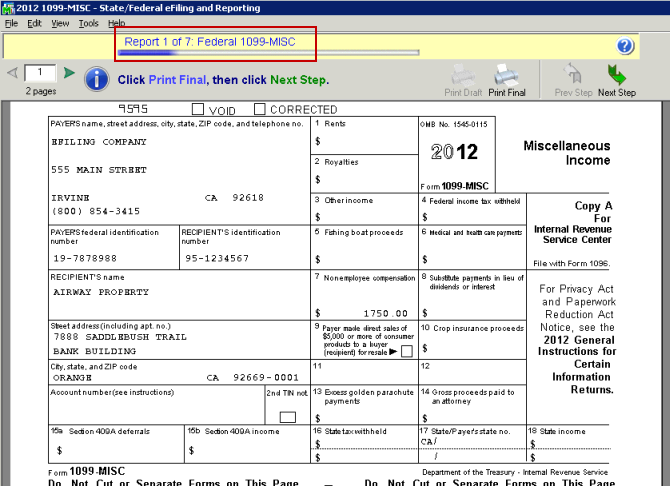 efiling and Reporting for Sage 100 ERP 1099 Forms Viewer After selecting 1099 Printing and Filing Options, you are presented with similar screens as in the W-2 Printing and Filing such the option to