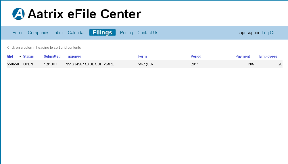 efiling and Reporting for Sage100 ERP You can then login to