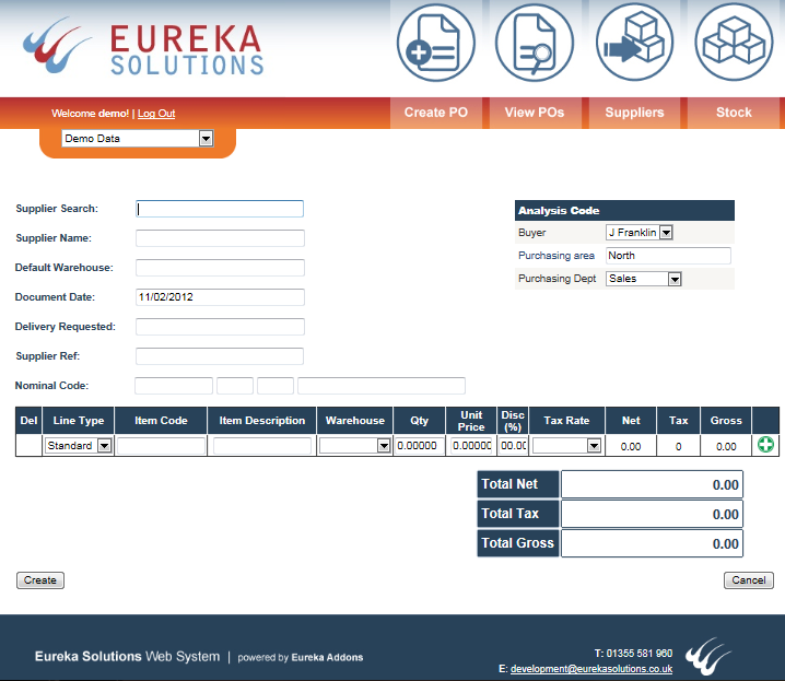 In the Supplier Search field users can search for a supplier account by entering the Supplier Account Reference,