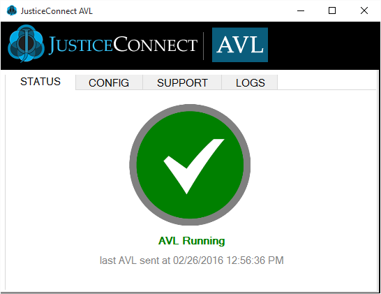 JusticeConnect AVL Status Screens STARTING A message will display when the software first runs to initialize GPS device.