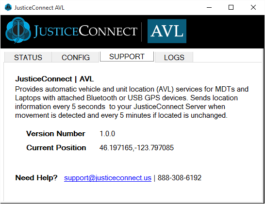 JusticeConnect AVL Detail Screen CONFIG Current configuration is displayed within the CONIFG screen. To update settings click on RESET CONFIGURATION.