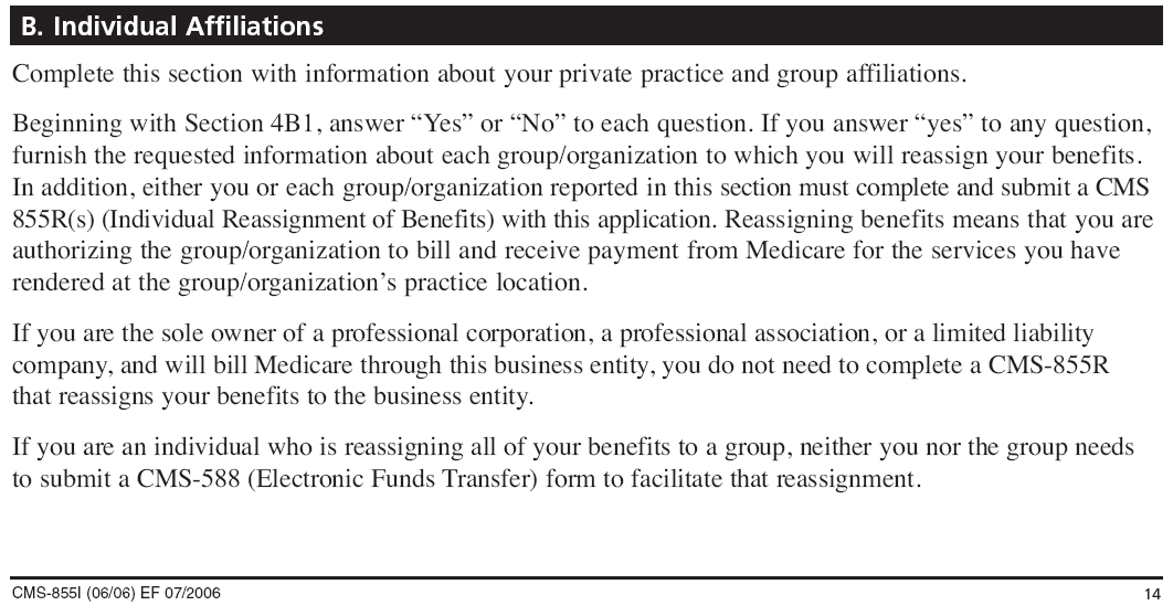 Section 4B: Practice Location Information This section identifies