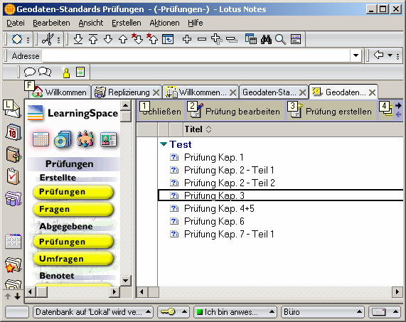 Schedule of learning contents CourseRoom with a discussion forum Profiles to introduce to course-participants Test manager Figure 1: Screenshots of Lotus LearningSpace.