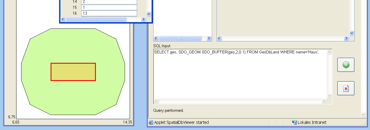 Figure 6: Visualization of the spatial buffer operator by the spatial SQL tool. The Spatial Database Viewer is implemented in Java 2 Standard Edition, v1.4.