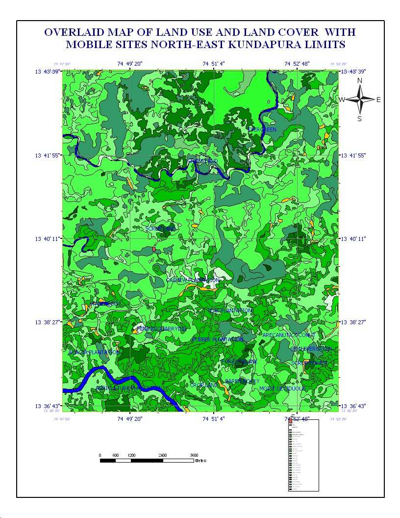 Fig.5 Thematic map showing vegetation areas overlaid with mobile sites under investigation and NDVI closes to high positive values It can be shown that propagation prediction is a vital step in