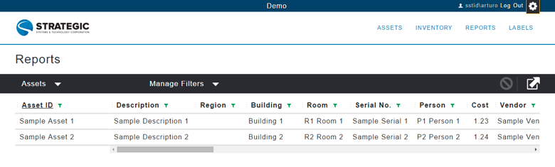 2.5 Reports To access the reporting features of the system, click on Reports on the menu bar.