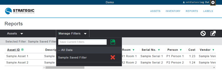 options include functionality to filter and sort as needed. You can save your sort and filter preferences in Manage Filters.