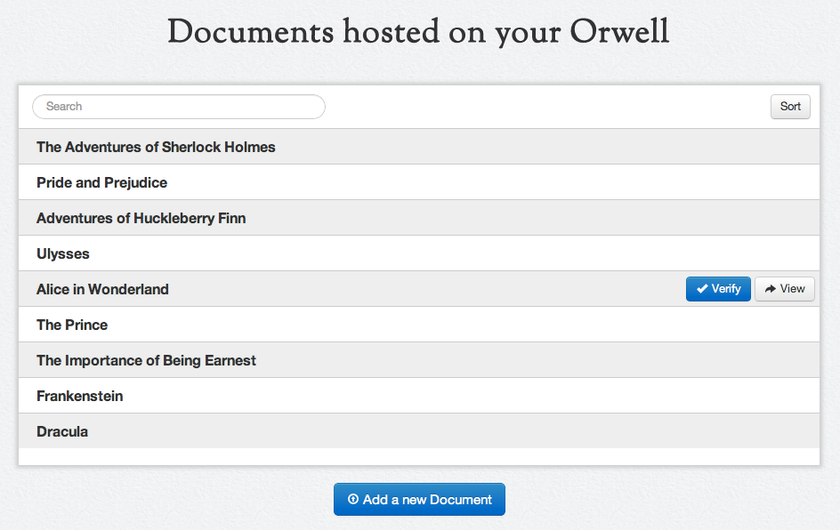 3 Figure 1. Users can upload and verify documents through Orwell s client application.